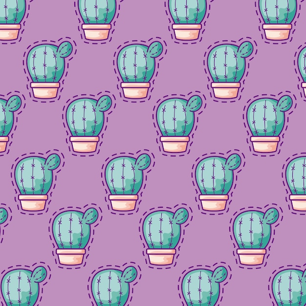 Seamless pattern patches of cactus in pots plants Premium Vector