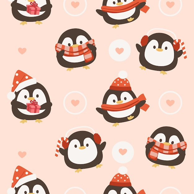 Seamless pattern of penguin with hearts Premium Vector