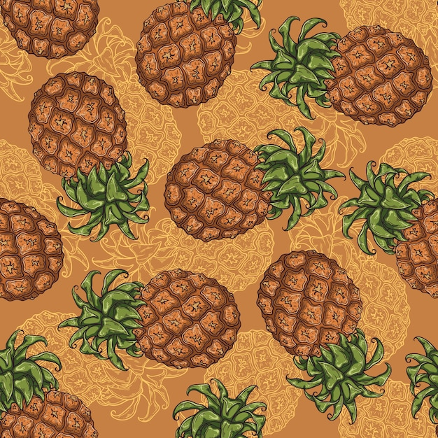 Seamless pattern of pineapple in sketch style. Premium Vector
