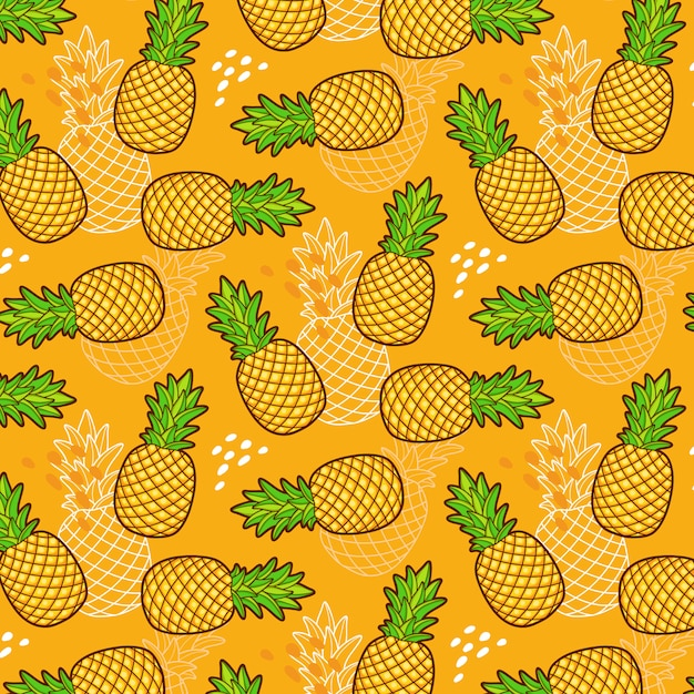 Seamless pattern of pineapples Free Vector