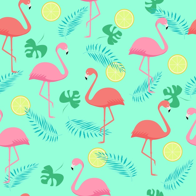 Seamless pattern of pink and coral flamingos and palm leaves Premium Vector