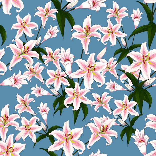 Seamless pattern pink lilly flowers on blue background. Premium Vector
