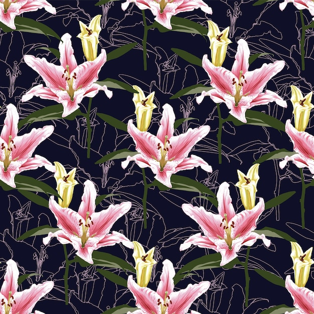 Seamless pattern pink lilly flowers Premium Vector