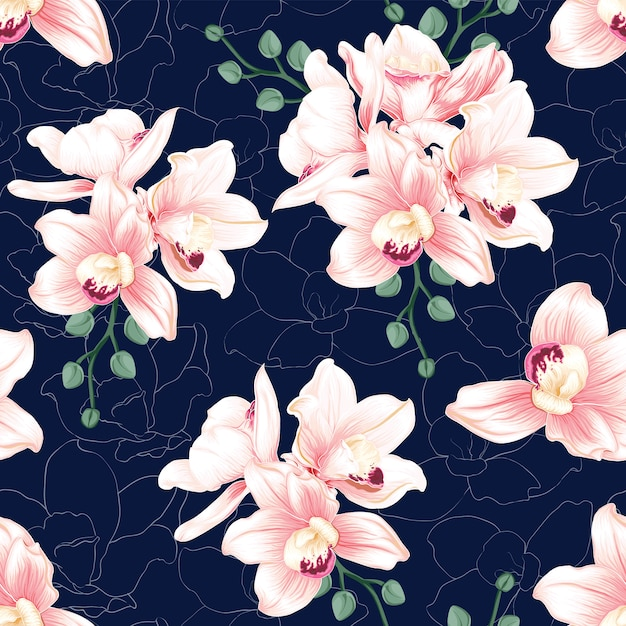Seamless pattern pink orchid flowers on abstract dark blue background. Premium Vector