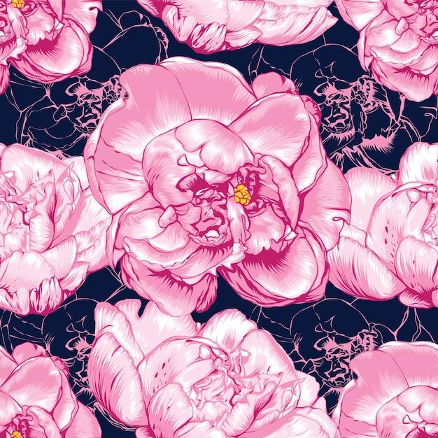シームレスなパターンピンクの牡丹の花抽象的な背景。手描き。 Premiumベクター