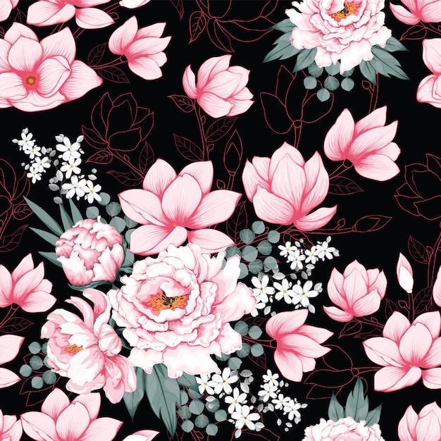 Seamless pattern pink paeonia vintage Premium Vector