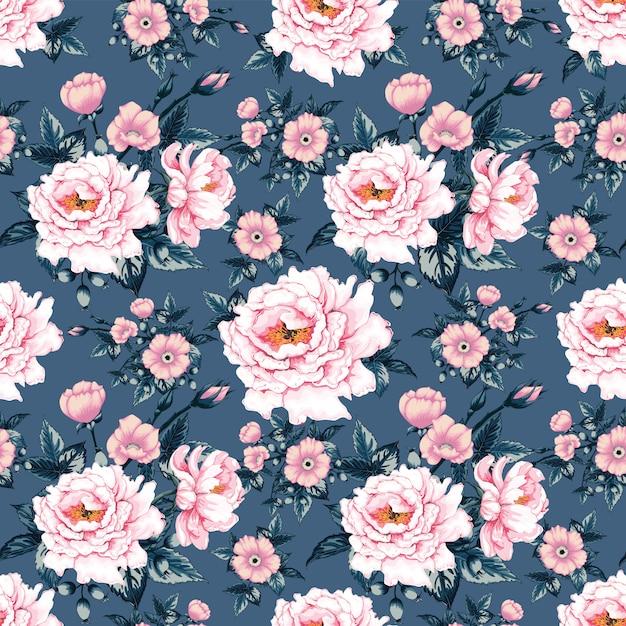 Seamless pattern pink pastel color paeonia Premium Vector