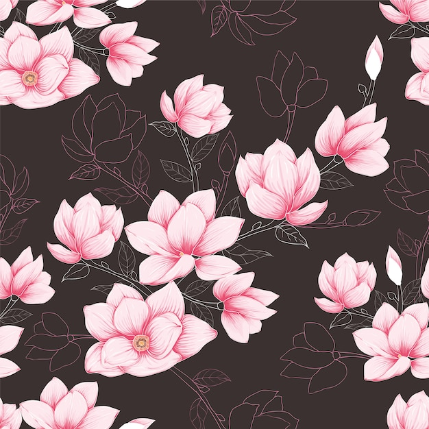 Seamless pattern pink pastel magnolia flowers background. Premium Vector