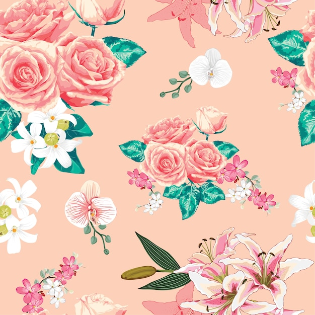 Seamless pattern pink pastel rose flowers. Premium Vector