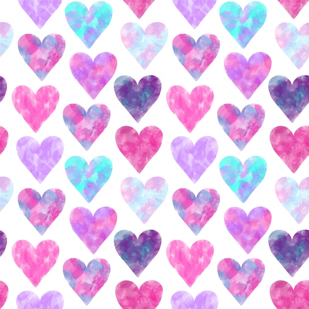 Seamless pattern of pink and purple watercolor hearts Premium Vector