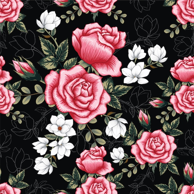 Seamless pattern pink rose flowers background. Premium Vector