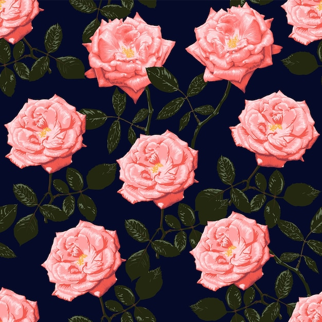 Seamless pattern pink rose flowers vintage Premium Vector