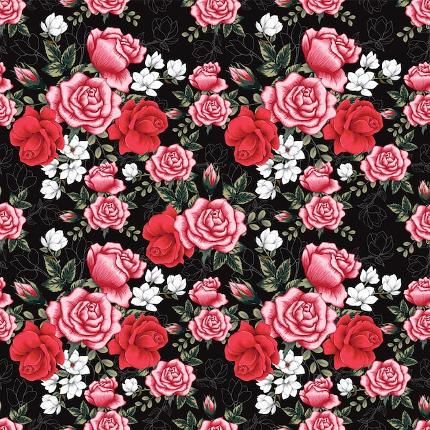 Seamless pattern pink rose and magnolia flowers background. Premium Vector
