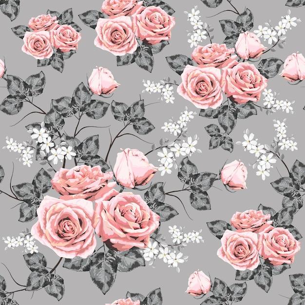 Seamless pattern pink rose vintage flowers background Premium Vector