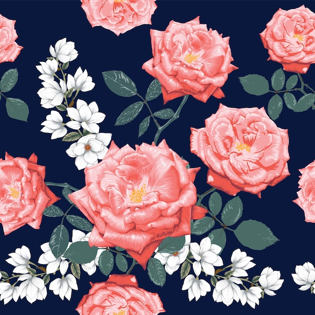 Seamless pattern pink rose and white magnolia flowers Premium Vector