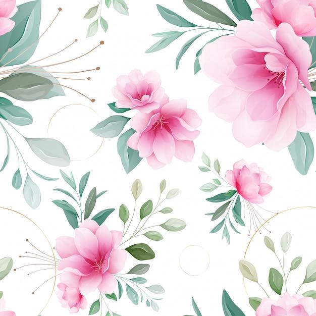 Seamless pattern of pink sakura flowers Premium Vector