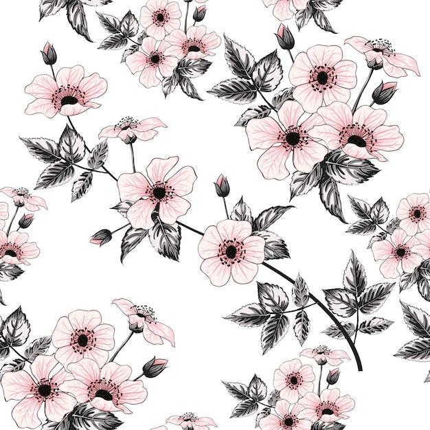 Seamless pattern pink wild rose flowers, hand drawing Premium Vector