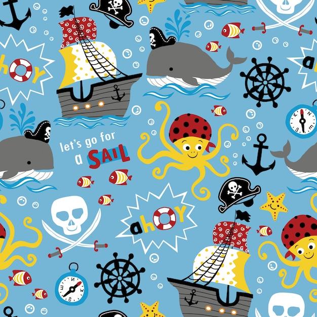 Seamless pattern of pirates theme cartoon Premium Vector