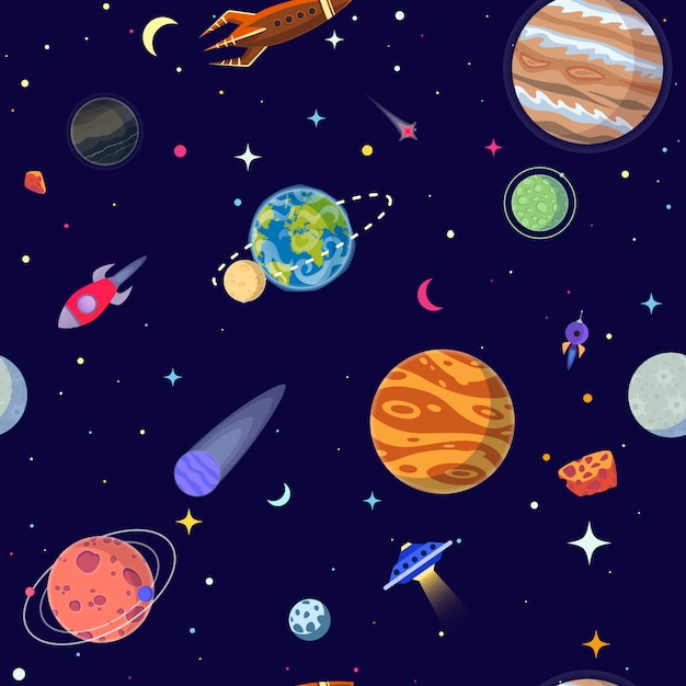 Seamless pattern of planets in open space. Premium Vector