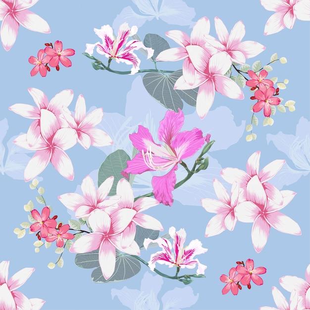Seamless pattern plumeria and pink wild flowers background. Premium Vector
