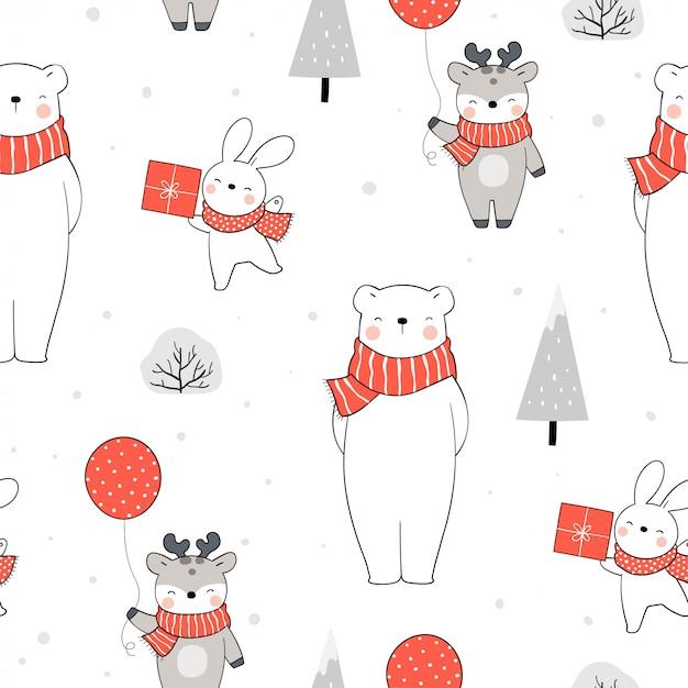 Бесшовный фон белый медведь кролик и олень на рождество. Premium векторы