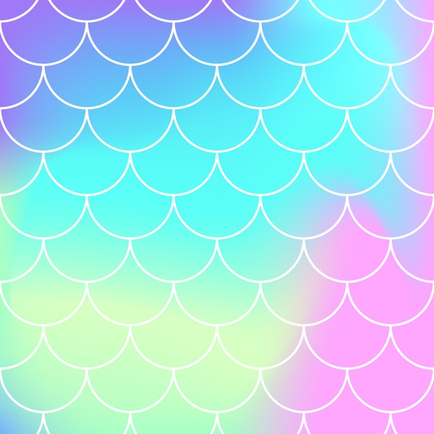 Seamless pattern. rainbow background. mermaid scales. kawaii colorful backdrop. holographic print. bright mermaid pattern.  illustration. unicorn rainbow background. Premium Vector
