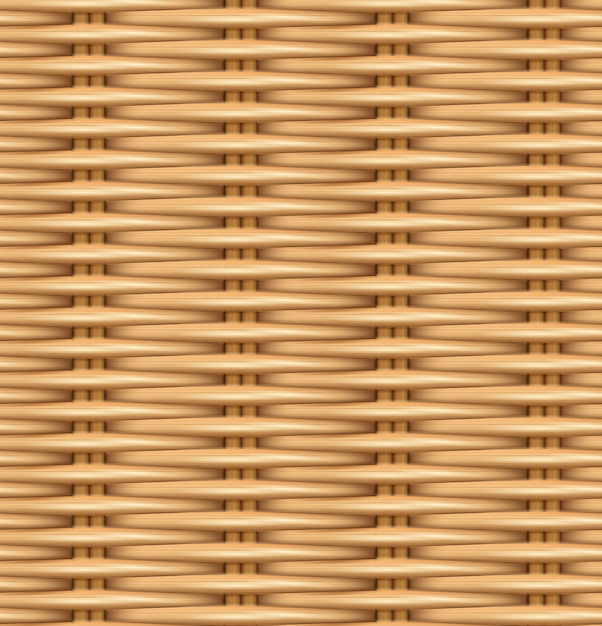 Seamless pattern realistic texture of woven rattan. Premium Vector