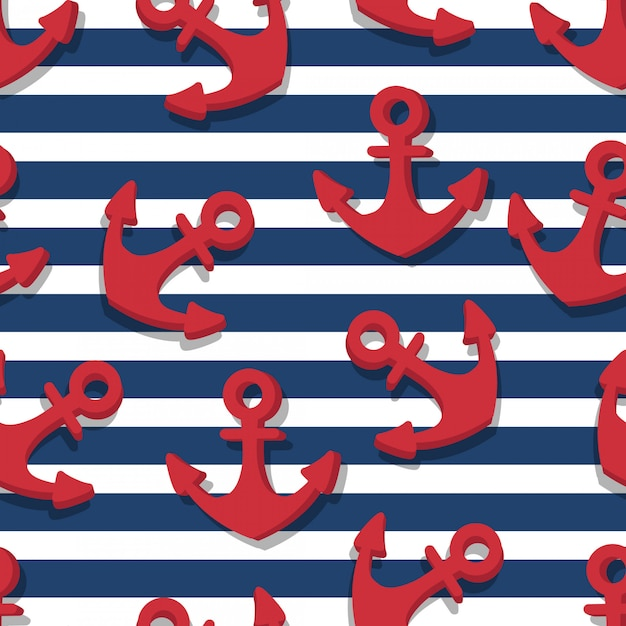 Seamless pattern of red anchors and blue navy stripes Premium Vector