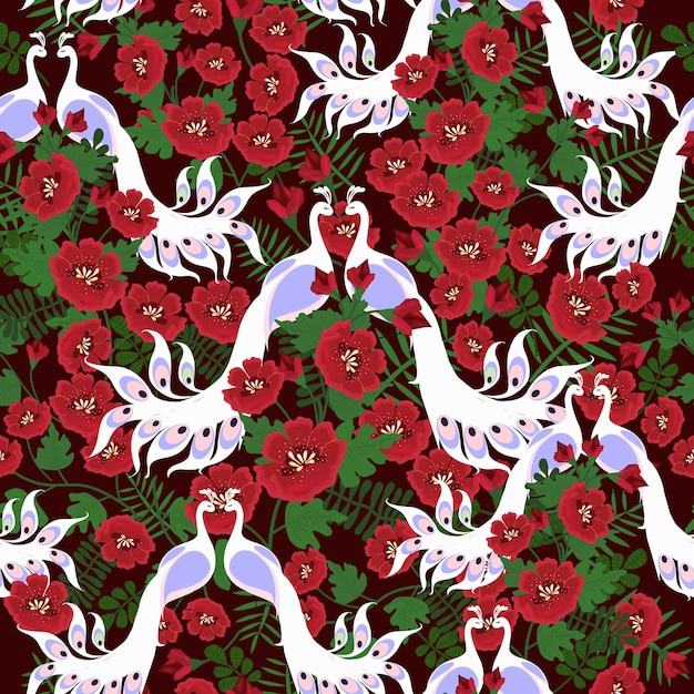 Seamless pattern red flower and couple white peacock. Premium Vector