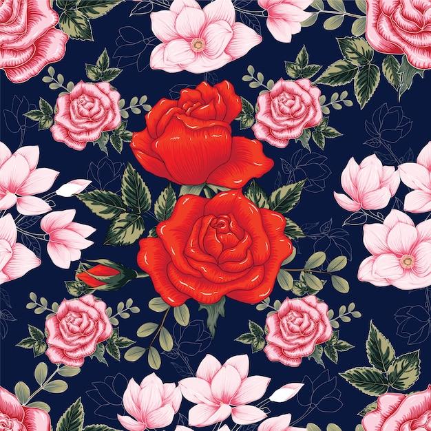 Seamless pattern red rose flowers dark blue background. Premium Vector