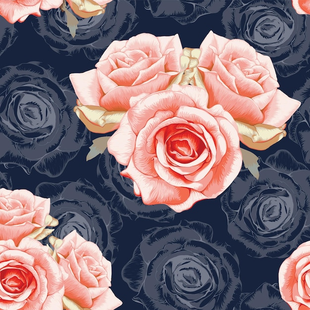 Seamless pattern red rose flowers vintage abstract dark blue background. Premium Vector