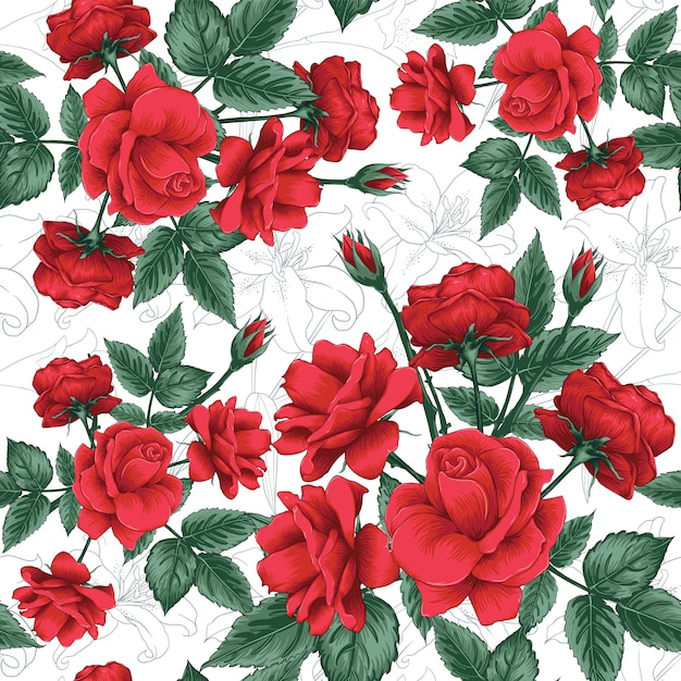 Seamless pattern red rose and lilly flowers background. Premium Vector