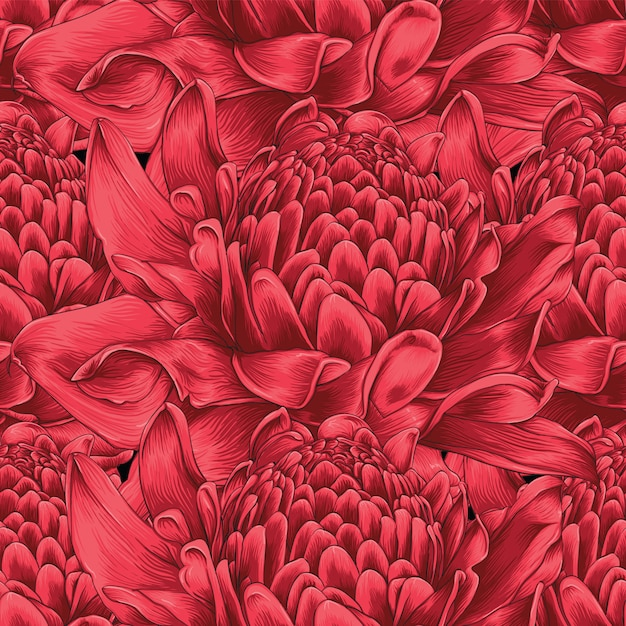 Seamless pattern red torch ginger flowers Premium Vector