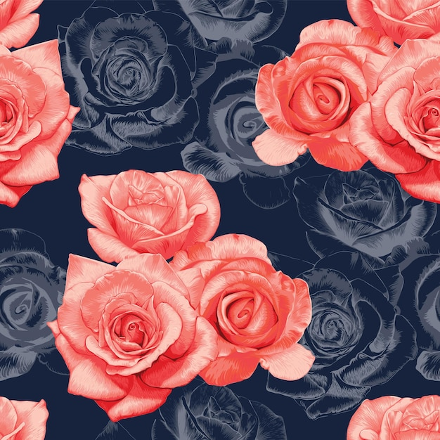 Seamless pattern rose flowers vintage abstract dark blue background. Premium Vector