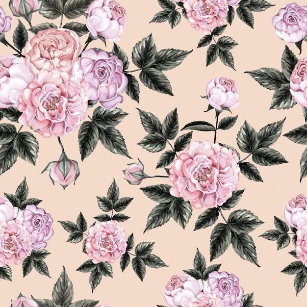 Seamless pattern rose flowers vintage. Premium Vector