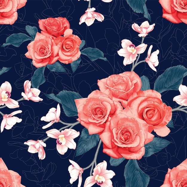 Seamless pattern  rose and orchid flowers abstract background. Premium Vector