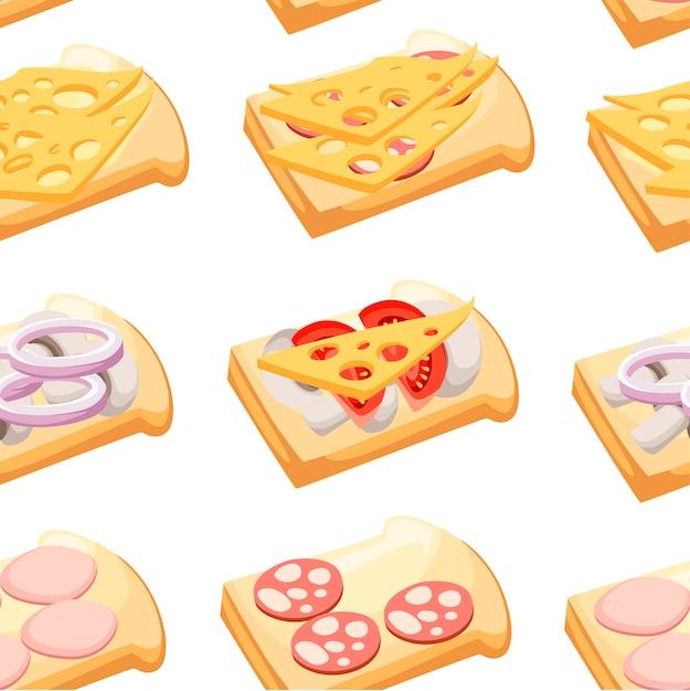 Бесшовные модели. бутерброды с разными ингредиентами. мясо, овощи, сыр. мультяшный плоский стиль. иллюстрация на белом фоне. Premium векторы