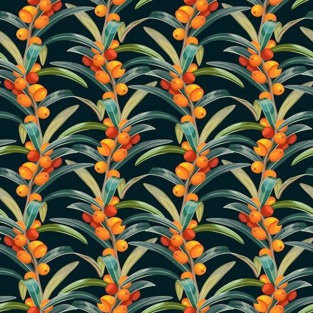 Seamless pattern of sea buckthorn. Free Vector