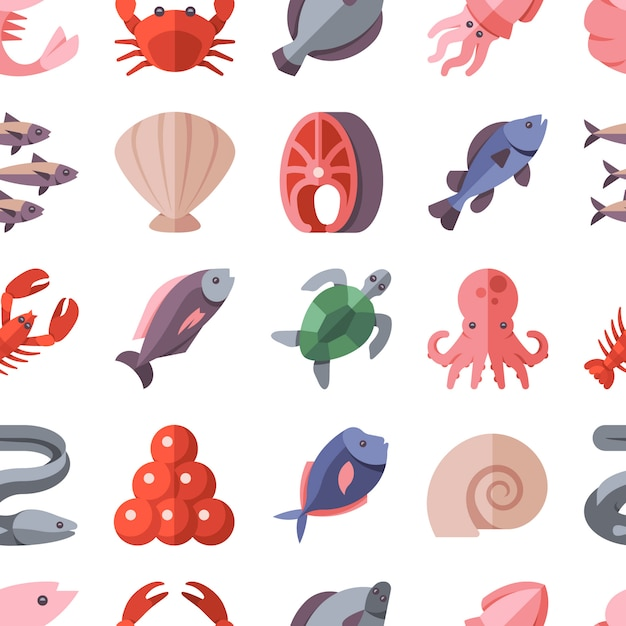 Seamless pattern of seafood delicacies and cooking fish Premium Vector