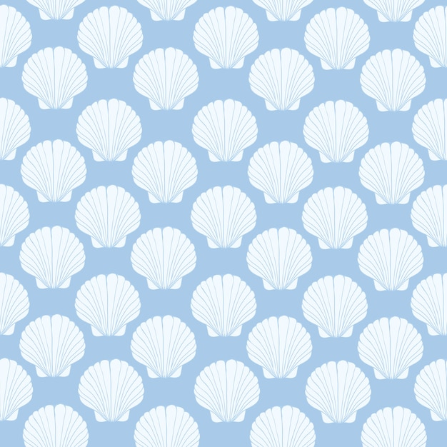 Seamless pattern of seashells, marine . Premium Vector