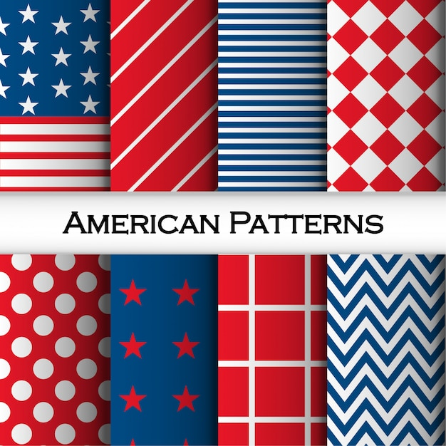 Seamless pattern set with stripes, rombus, squares, dots and american flag rombo Premium Vector