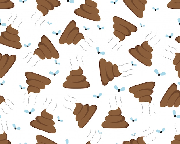 Seamless pattern of a shit icon or poop icon Premium Vector