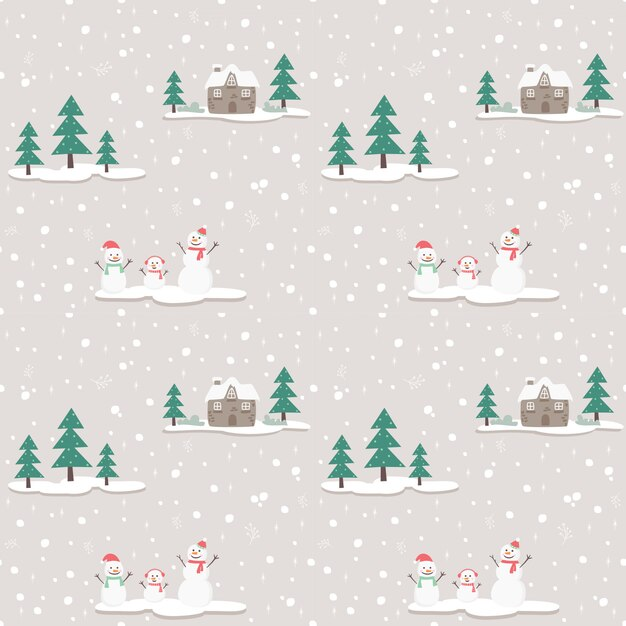 Seamless pattern snowman on gray bg Premium Vector