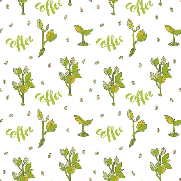 Seamless pattern. stylized coffee sprouts in geometrical design. Premium Vector