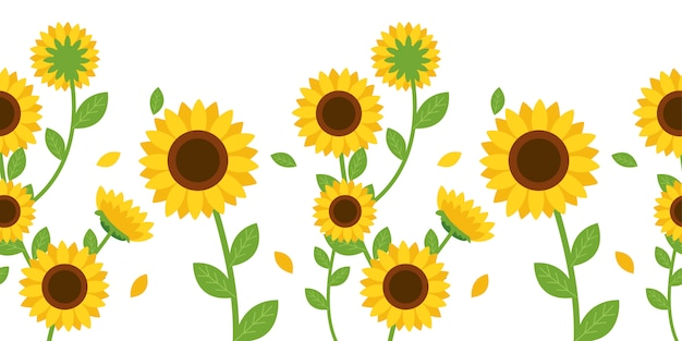 The seamless pattern of sunflower and leaf Premium Vector