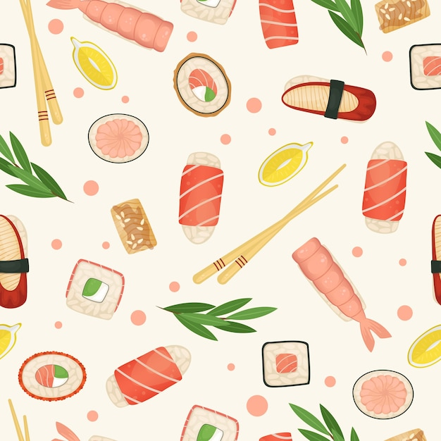 Seamless pattern sushi and rolls. japanese food. Premium Vector