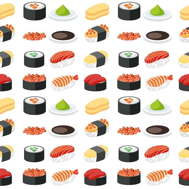 Seamless pattern sushi set Premium Vector