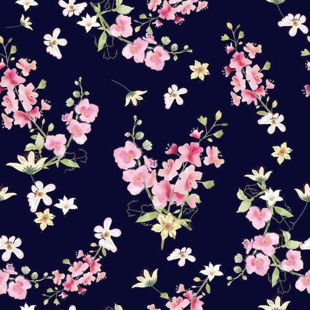 파란색 배경에 원활한 패턴 달콤한 분홍색과 흰색 식물. 프리미엄 벡터