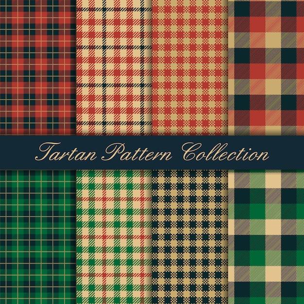 Seamless pattern tartan texture collection Premium Vector