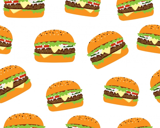 Seamless pattern of tasty cheeseburger Premium Vector